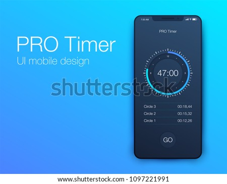 Ui mobile design Pro timer. Stock vector