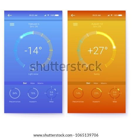 UI of mobile app page of weather. Summer and Winter layout for mobile apps. GUI design for responsive website or applications. Page of different weather user interface. 3D illustration isolated