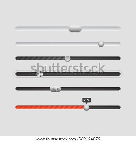 Ui sliders. Design ui elements. Vector illustration.