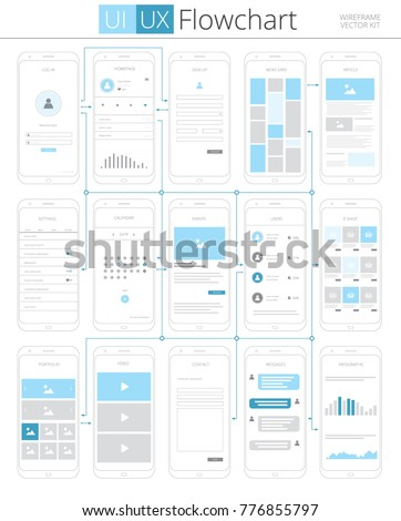 UI UX Flowchart Infographic Scheme. Vector Illustration