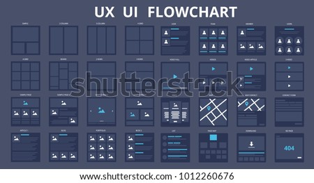 UI UX Flowchart Scheme Templates. Vector illustration
