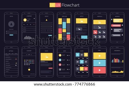 UI UX Flowchart Template Vector illustration Infographics Elements