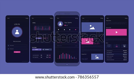 UI, UX, mobile apps, screens and flat web icons, responsive website including