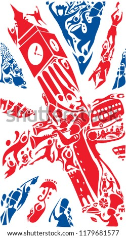 UK Abstract Flag Art, United Kingdom Colors (Vector Art)