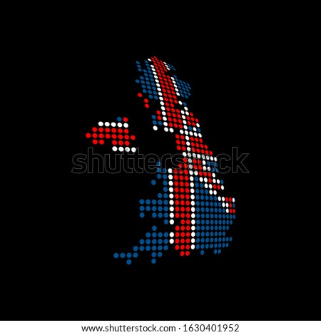 UK blank map vector . UK digital map template . UK silhouette . black UK map . Colorful map of United Kingdom . United Kingdom national flag . great britain flag maps sphere dots globe surface