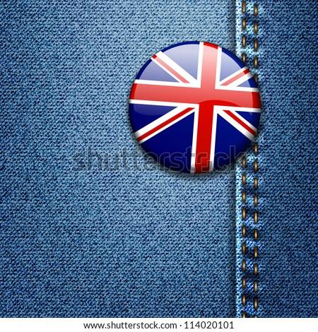 UK Bright Colorful British Flag Badge on Denim Fabric Texture Jacket - stock vector