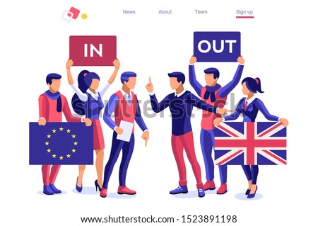 Uk concept United Kingdom banner. Political traditional government country voting anti European Union. Waving politics patriotic international supporters. Humans support separated flag. Cartoon word