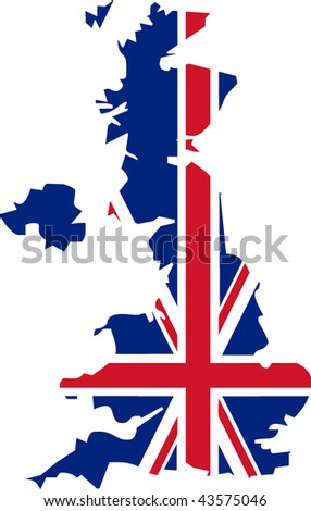 UK flag in the shape the country - isolated vector illustration - stock vector