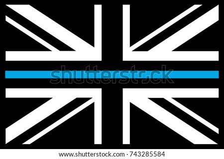 UK Flag Thin Blue Line Morale Patch Black. Vector.