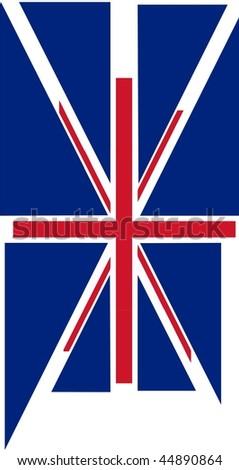 UK flag - Union Jack exploded vector illustration