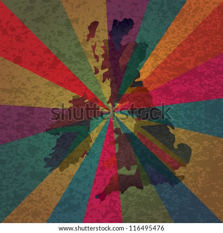 UK Great Britain England Jack Union Flag in Map Silhouette with Colorful Rays and Texture Background Vector Illustration