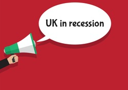 UK in recession megaphone vector