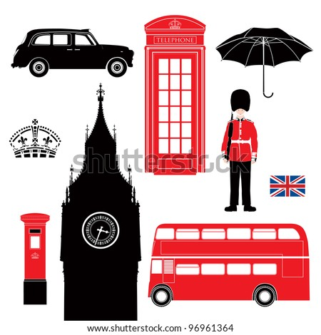 UK - London symbol  -  icons - silhouette - stencil -  vector illustration - stock vector