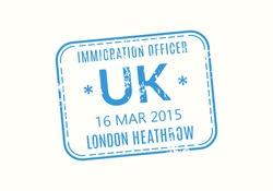 UK Passport stamp. United Kingdom visa stamp for travel. London international airport grunge sign. Immigration, arrival and departure symbol. Vector illustration.