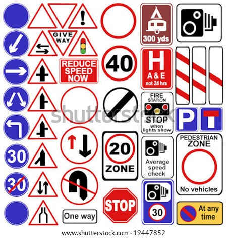 uk street sign vector collection