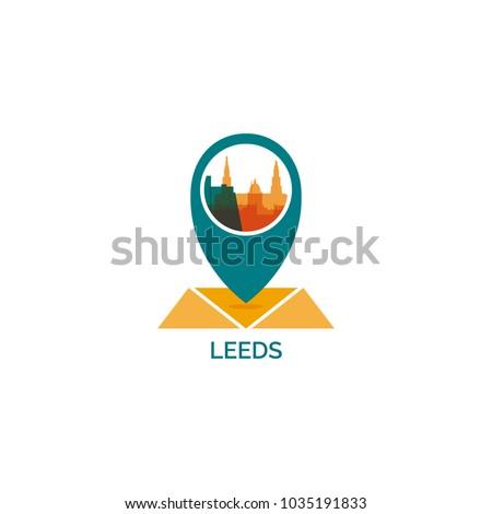 UK United Kingdom England Leeds map city pin point geolocation modern skyline shape pointer vector flat logo icon illustration