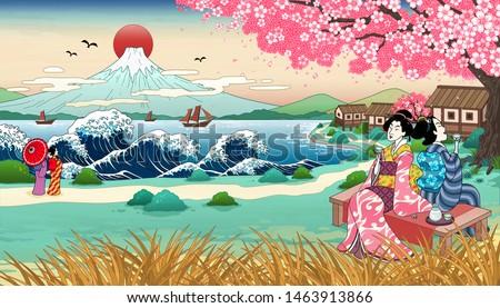 ukiyo e style geisha drinking