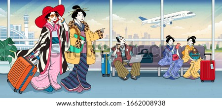 Ukiyo-e style people in airport terminal wearing fashion kimono coat and waiting for their flight Photo stock ©