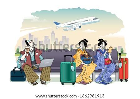 Ukiyo-e style people waiting their flight at terminal Photo stock ©