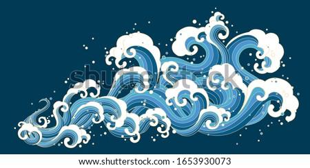 Ukiyo-e style splashing ocean tide on dark blue background