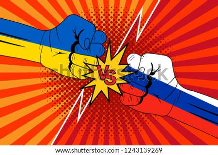 Ukraine and Russia flags.Versus rivalry fist vector background. Boxer punching or clashing fists for disagreement battle