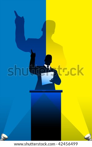 Ukraine flag with political speaker behind a podium  Original vector illustration. Ideal for national pride concepts.