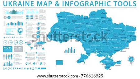 Ukraine Map - Detailed Info Graphic Vector Illustration #776616925