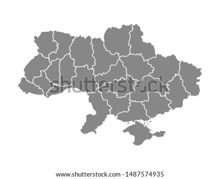 Ukraine map with areas in flat, vector illustration