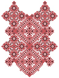 Ukrainian ethnic ornament-pixel pattern like old handmade folk art knitted embroidery