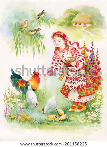 ukrainian girl feeding chickens