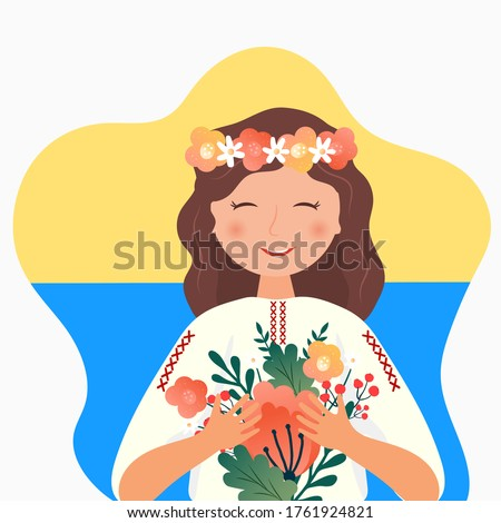 Ukrainian girl girl in the folk costume with flowers, wreath and national flag of Ukraine.Happy Independence, Constitution day Foto d'archivio ©