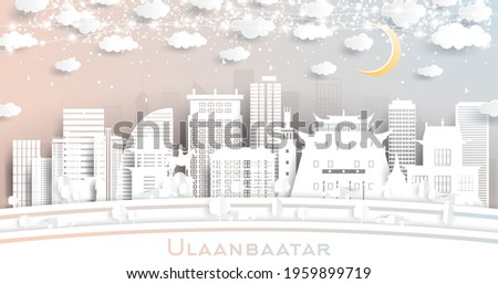 Ulaanbaatar Mongolia City Skyline in Paper Cut Style with Snowflakes, Moon and Neon Garland. Vector Illustration. New Year Concept. Ulaanbaatar Cityscape with Landmarks. Stock fotó ©