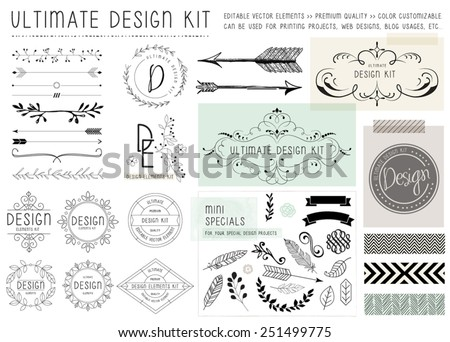 ULTIMATE DESIGN ELEMENTS KIT. For your graphic projects, print and internet. Frames, dividers, decorative elements such as logo.