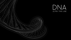 Ultra thin line DNA double helix illustration. Mysterious source of life trendy background. Genom 3d futuristic science image. Conceptual design of genetics information on black backdrop