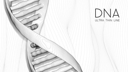 Ultra thin line DNA double helix illustration. Mysterious source of life trendy background. Genom 3d futuristic science image. Conceptual design of genetics information on white backdrop