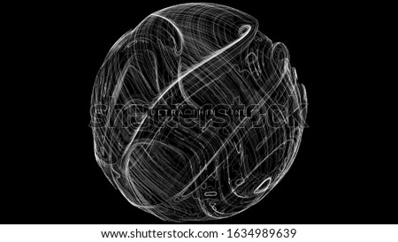 Ultra thin line fluid geometry. Dynamic vector distorted spheres. Digital fractal 3d swirl. Futuristic sound or data waveform. Chaotic particle wave motion trails.