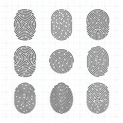 Ultra Thin Vector Fingerprint Icons Set, Isolated Sci-Fi Future Identification Authorization System