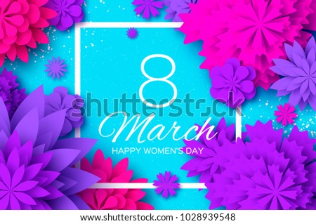 Ultra Violet Pink Paper Cut Flower. 8 March. Womens Day Greetings card. Origami Floral bouquet. Square frame. Text. Spring Seasonal Holidays on blue. Happy Mothers Day. #1028939548