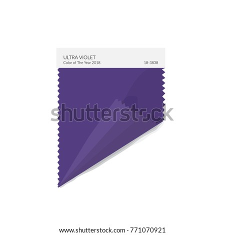 ultra violet sample fabric textile swatch. color trend.color of the year 2018. sample template interior design mood board. purple piece of fabric. vector stock illustration