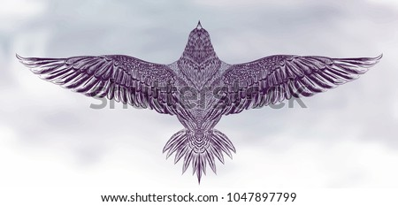 ultra violet vector eagle in the cloudy sky.vector for t shirt printing and embroidery, Graphic tee and printed tee. Condor. Eagle. Owl. Dove. Sketch for tattoo. Symbol of freedom.