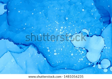 Ultramarine watercolor splashes vector background. Hand drawn sapphire color overlapping blots drawing. Splattered aquarelle abstract blue navy backdrop. Paint drops, splatters and spots effect.
