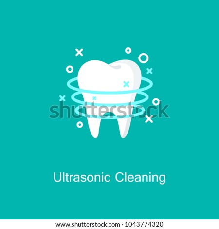 Ultrasonic cleaning icon. Professional Teeth Whitening concept, stomatology pictogram. Healthy Tooth Under Protection. Medicine symbol for info graphics, websites and print media. Vector flat icon.