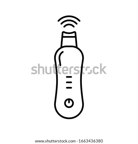 Ultrasonic face skin scrubber. Linear icon of blackhead removal, lifting massager. Black simple illustration of electronic device for home facial care. Contour isolated vector on white background Stok fotoğraf ©