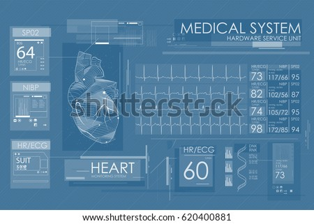 Ultrasound and cardiogram. Futuristic Medical Interface, virtual graphic touch UI with illustration of Heart Scan  and Electrocardiogram.