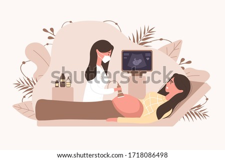 Ultrasound pregnancy screening concept. Female doctor in medical uniform scanning mother. Girl with belly looking in monitor smiling. Embryo baby health diagnostic illustration. Stock photo ©