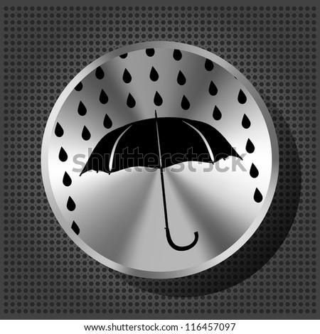 umbrella and rain drops with chrome volume knob on the metallic background