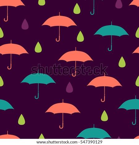 umbrella and rain on dark