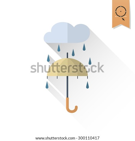 umbrella and rain single flat