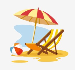 Umbrella and sun lounger on the beach. Vector illustration