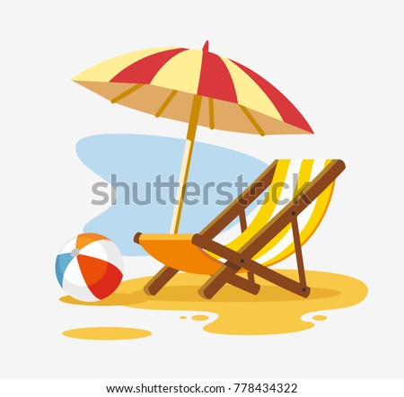 Shutterstock Umbrella and sun lounger on the beach. Vector illustration